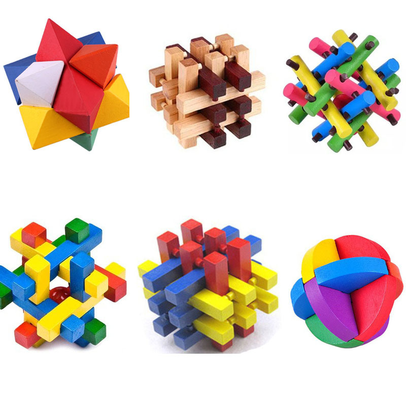 1 pcs 3D Eco-Friendly Bamboo Wooden Toys IQ Brain Teaser Burr Adults Colorful Puzzle Educational Kids Learning Unlocking Games(China (Mainland))
