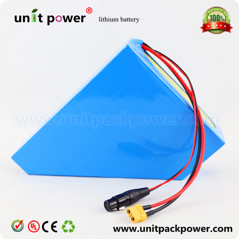 Free customs taxes triangle lithium battery 48V 20Ah electric bike battery 48V 1000W electric scooter battery with 4A charger(China (Mainland))