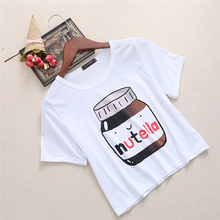 Buy Harajuku 2017 Summer T-shirt Nutella Print White Crop Tops Short Sleeve T shirts Fitness Women Fashion Kawaii T-shirt for $2.86 in AliExpress store