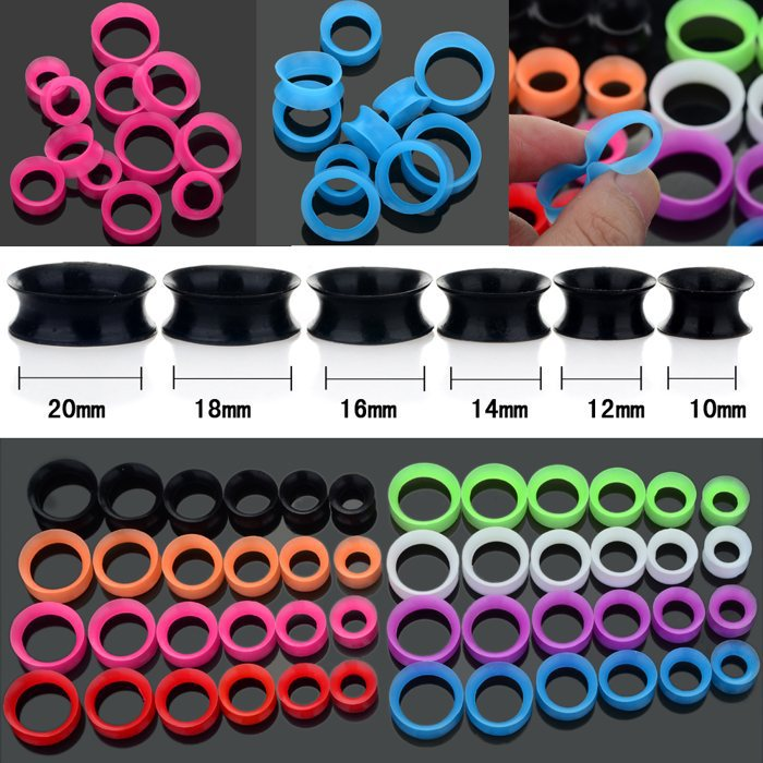 Wholesale 12Pcs/lots 10-20MM Mix Silicone Ear Expander Skin Flesh Tunnels Plugs Gauges Earlet Body Jewelry(China (Mainland))