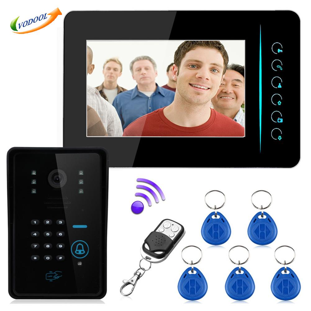 "DC 12V 7"" TFT 2.4G Wireless 5pcs RFID Password Video Door Phone Intercom Doorbell Home Security Access Control System(China (Mainland))"