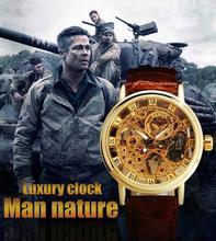 Sewor marca de cuero Casual de negocios mecánico esquelético del reloj de Mens relojes Masculino del Relogio moda lujo reloj