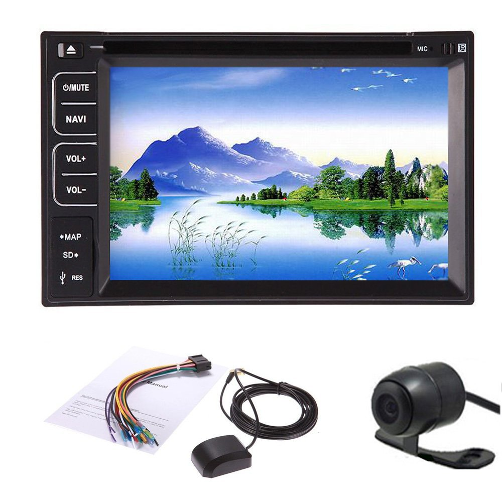 New 6.2'' 2-DIN Car DVD Player Radio/BT/Stereo/Audio GPS Navigation Car PC Stereo LCD Win 8 Free GPS Antenna+ Map+Review Camera(China (Mainland))