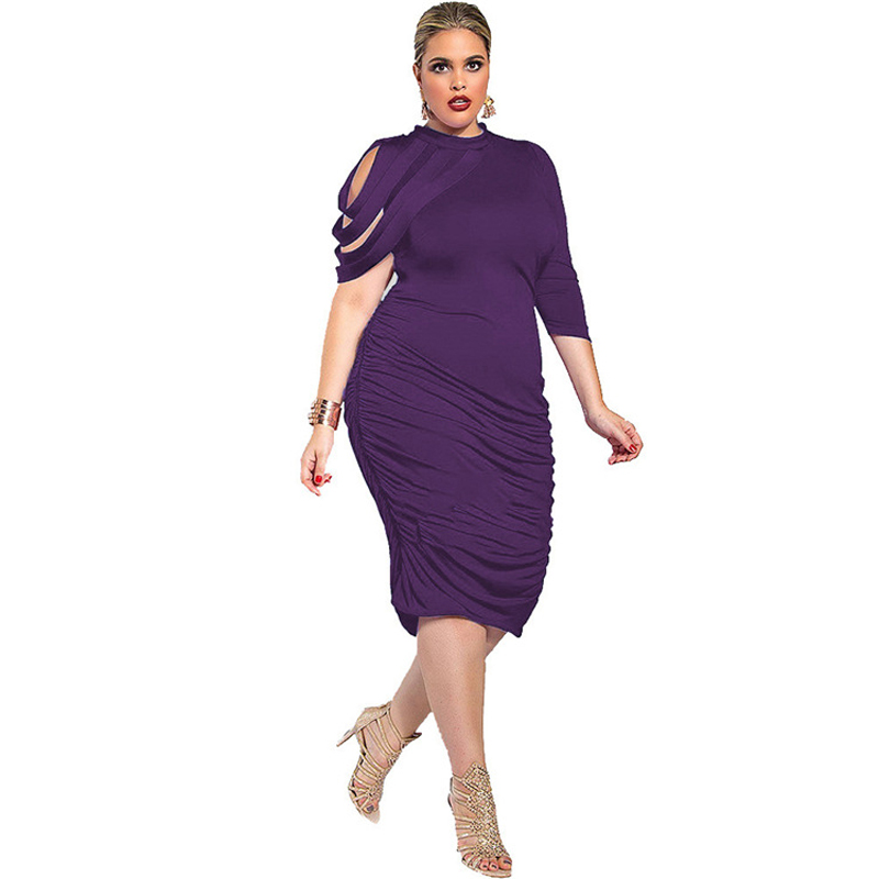 Plus Size Women Clothing New Fashion 2016 Off the Should Party Dresses For Big Women Solid Color Ladies Summer Dress XXL XXXL(China (Mainland))