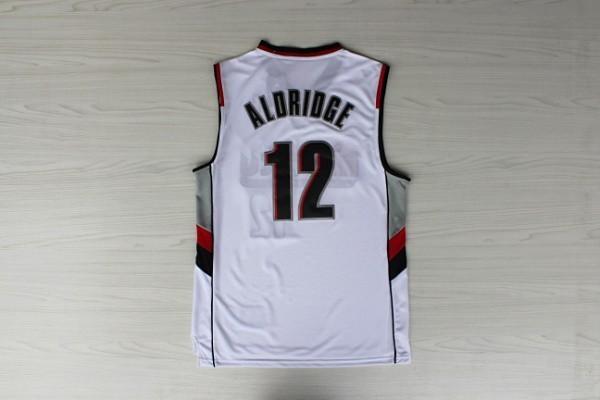 2015 New Arrivals #12 Basketball Jersey LaMarcus Aldridge Black White Rev30 Jerseys Embroidery Logo - Max's fashion store