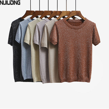 Buy NIJIUDING 2017 Summer Knitted T Shirt Top Tees Short Sleeve Solid O-neck T-Shirts Women Clothing Fashion Slim Knitwear T-shirt for $8.42 in AliExpress store