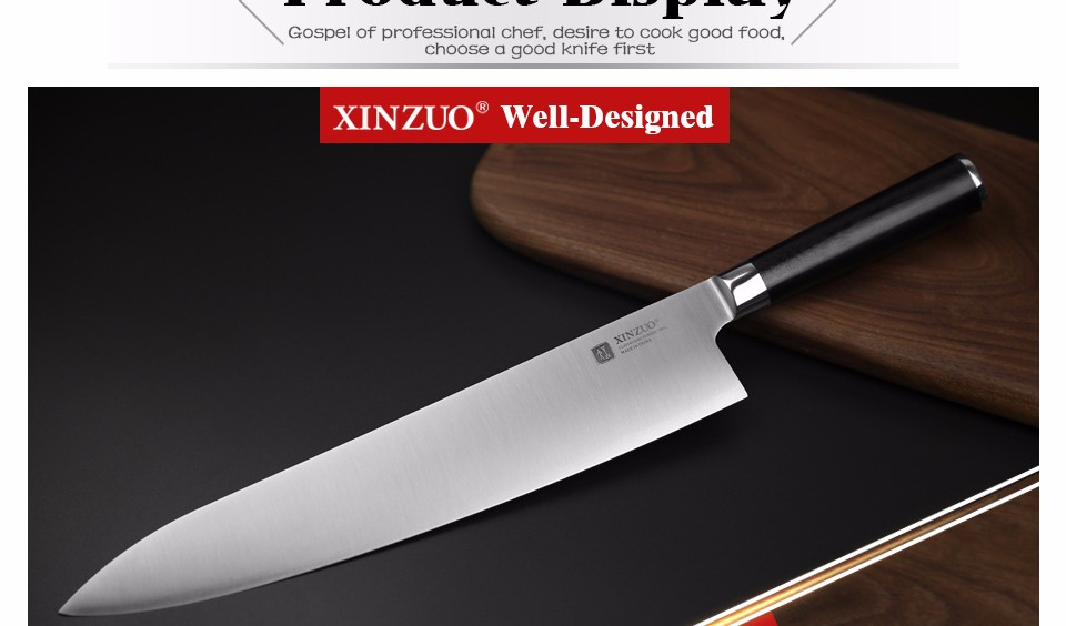 Buy XINZUO 12 inch butcher knife Germany stainless steel chef knife kitchen knives G10 handle Japanese cleaver knife free shipping cheap