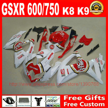 Fairing kit Suzuki GSXR 600 750 08 09 10 red white LUCKY STRIKE fairings set K8 GSX R 2008 2009 2010 BM76 - Welcome Shopping's store