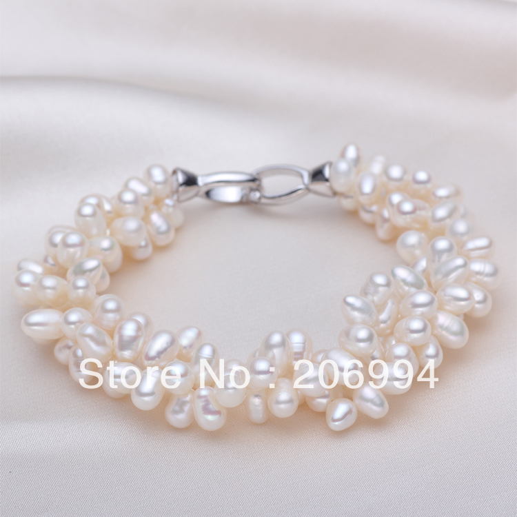 Wholesale designer lovely 6-7mm aaa + white freshwater pearl bracelet farming 2pc/lot gift fashion jewelry free shipping(China (Mainland))