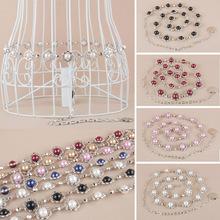 Women Lady Fashion Metal Flower Chain Belt Adjustable Colorful Beads Waistband BLTLL0062(China (Mainland))