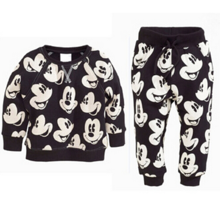 2016 New Boys&Girls Children's Clothes Sets Casual Sweatshirts Boys Clothing Set Cartoon Printing Fashion Cotton Sport Suit(China (Mainland))
