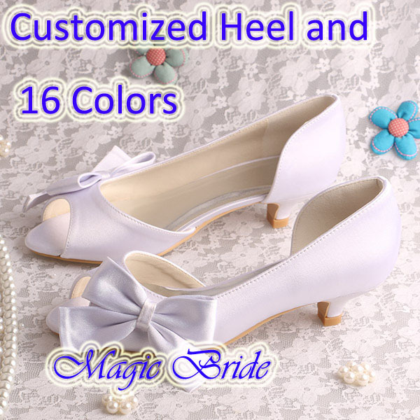(20 Colors)Comfortable Design Bride Wedding Shoes White Woman Low Heeled Size 9(China (Mainland))