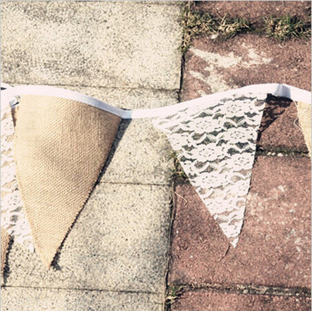 3M 11 PCS DIY linen Lace flags and Banner natural Country wedding party birthday home decoration(China (Mainland))