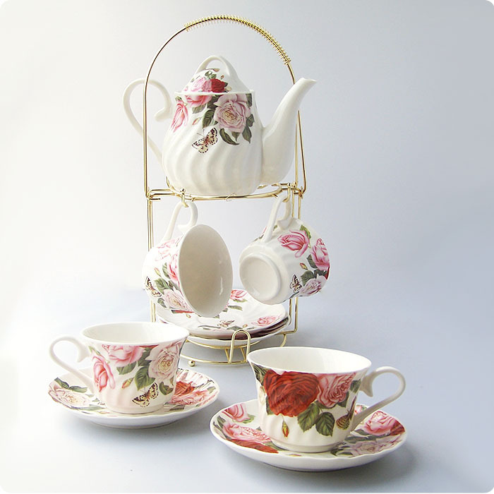 Ceramic rose 9 coffee cup fashion tea set cup holder set gift bone china