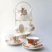 Ceramic rose 9 coffee cup fashion tea set cup holder set gift bone china