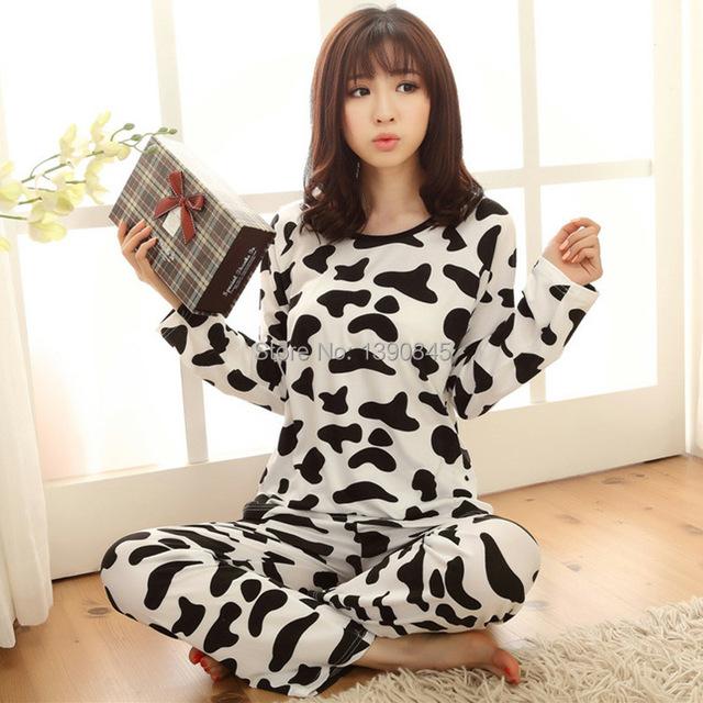 Новая осень женская коровьего молока отпечатано пижамы женщин хлопка с длинным рукавом хлопок главная носите пижамы пижамы комплект