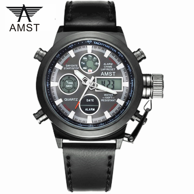 Male Fashion Sport Military Wristwatches 2016 New AMST Watches Men Luxury Brand 5ATM 50m Dive LED Digital Analog Quartz - iWatches store
