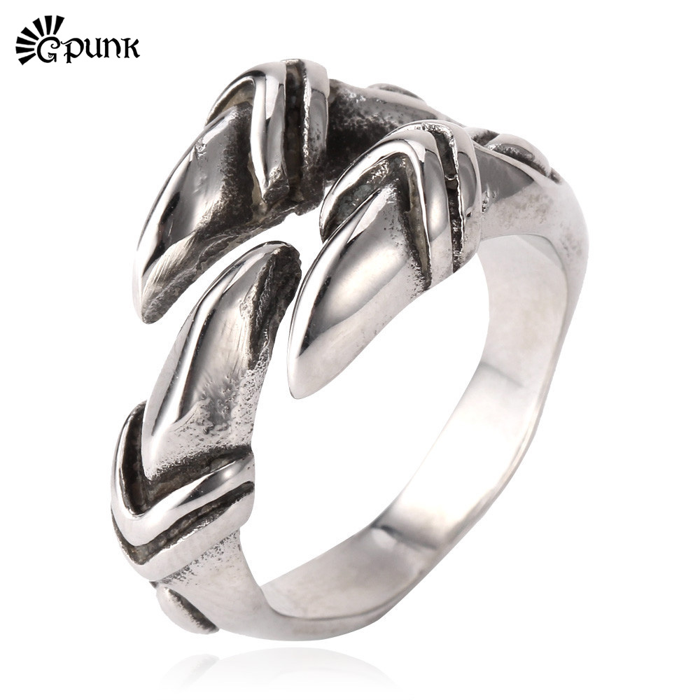 G Punk Rock Animal Claw Trendy New Never Fade 316L Stainless Steel Metal Jewelry Wholesale Band Punk Ring For Men R810G(China (Mainland))