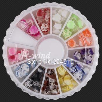 12 Colors 120pcs 3D nail art Soft Plastic Rose Flowers Sticker nail sticker decorative stickers decoration tools design Tips