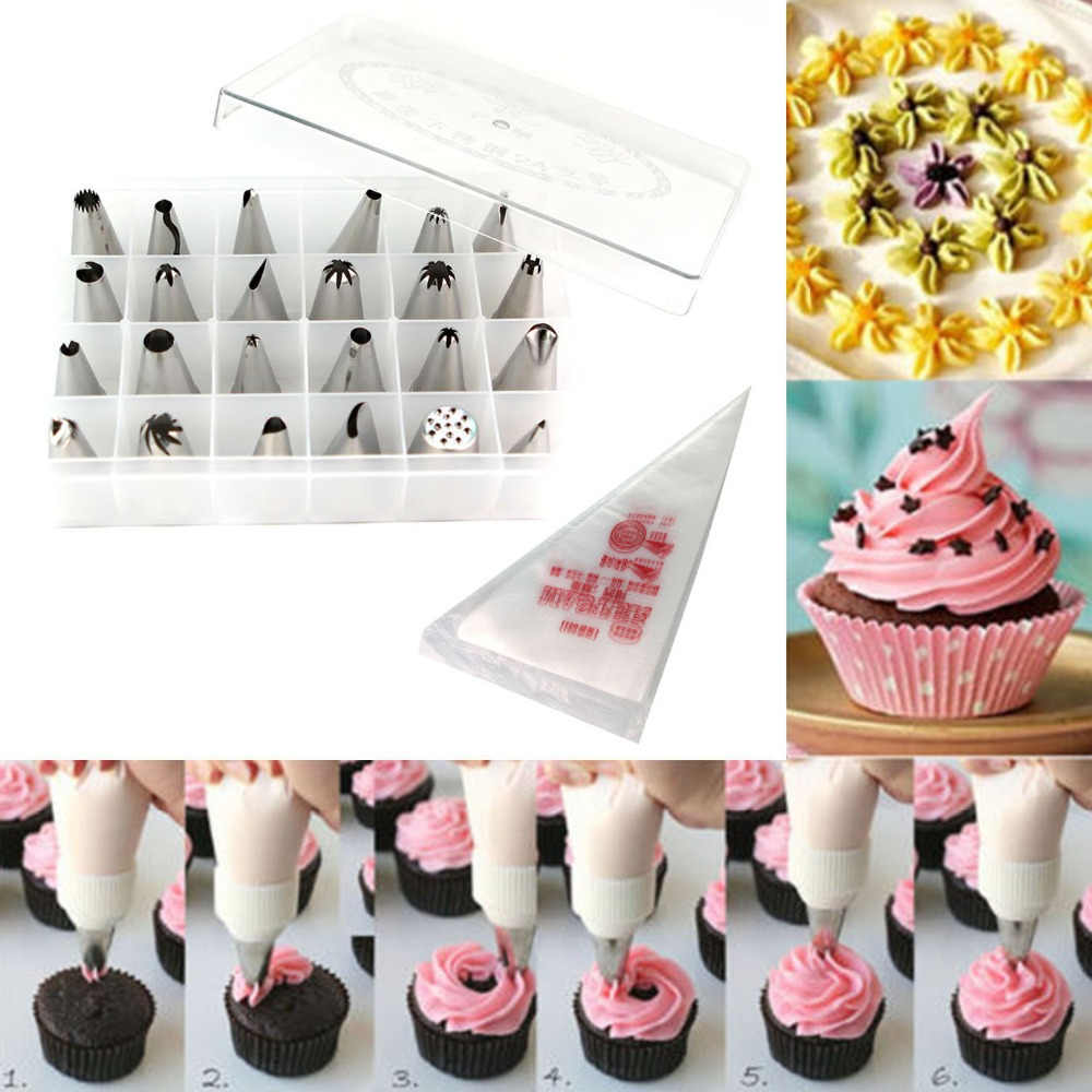 Living Room Decorating Tips free shipping cake tools decorating tip sets 24nozzles 100pcs icing piping bag pastry tips jpg set re de