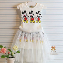 2015 summer toddler girls dress clothing children suit for girl kids minnie mouse clothes set vetement fille conjunto infantils(China (Mainland))