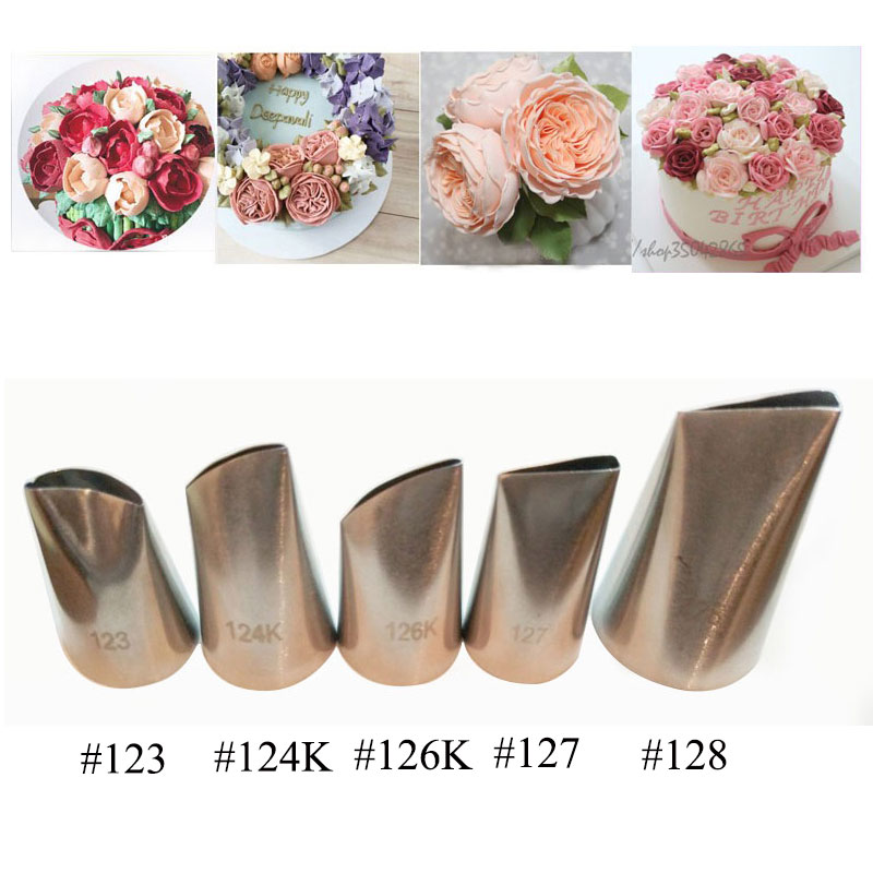 5 Pcs Rose Petal Metal Cream Tips Cake Decorating Tools
