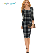 Colorful Apparel women Elegant font b Tartan b font Square Neck Tunic Wear To Work Business