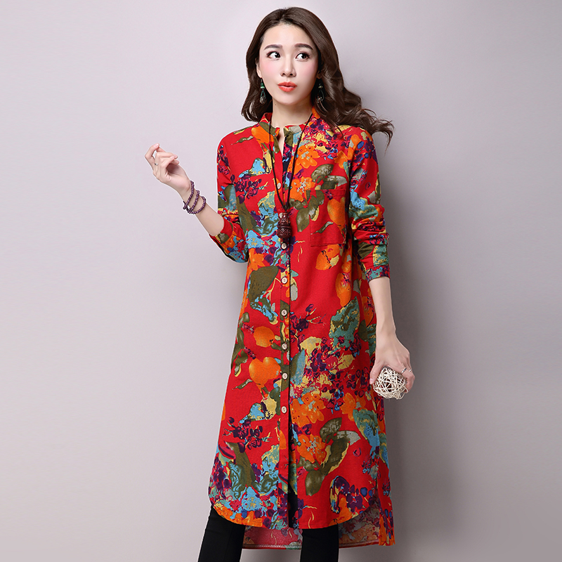 2016 new women's casual loose cotton Novelty design Plus size dress row button code printed cheap clothes china Z353 elegant(China (Mainland))