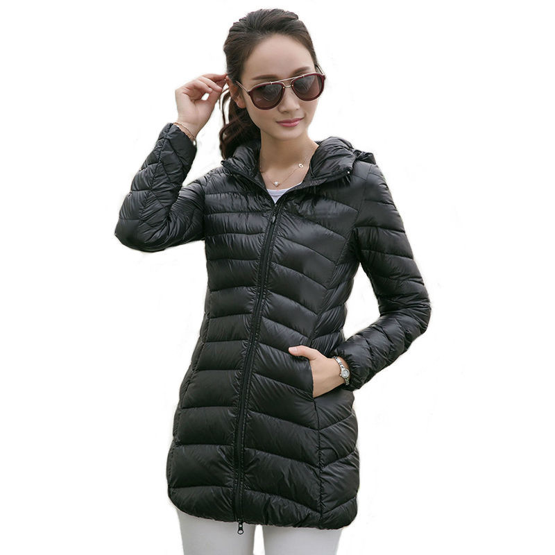 Women Ultra Light Down Jacket Hooded Coat Long Jacket Women Plus Size 3XL 7 Colors Long