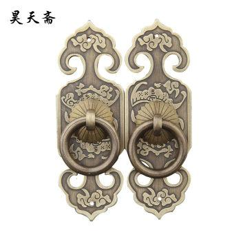 2016 Chinese classical cabinet pure bronze lock straight handle bookcase cabinet closet doors copper pull hands 10CM HTC093(China (Mainland))
