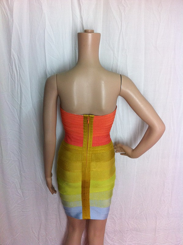 2013 new colour Fashion knitted Elastic HL Bandage Dress  Ladies Sexy Evening Dress Celebrity Dress rainbow colour dress