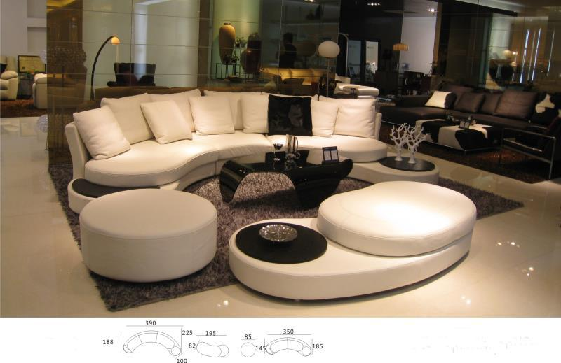 modern leather sofa sofa set living room furniture sectional sofa couches for home furniture arc shape with coffee table ottoman(China (Mainland))