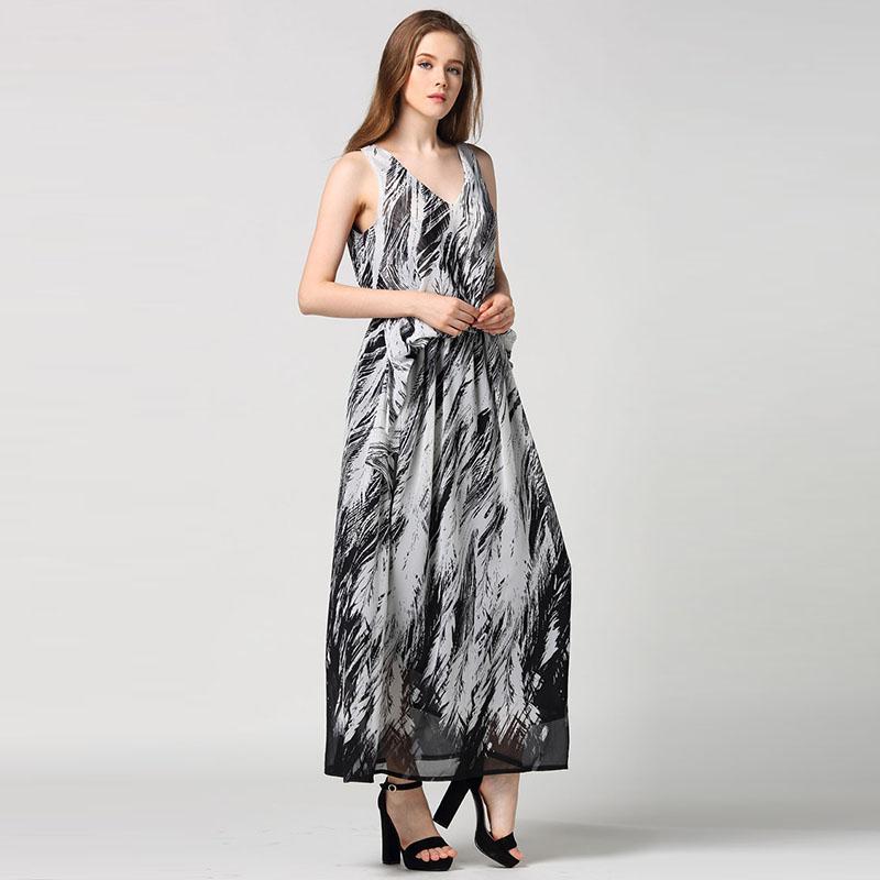 V Neck Dress 2016 Summer Print Sleeveless Ladies Vintage