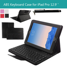 "For Apple iPad Pro 12.9"" Magnetically Detachable ABS Bluetooth Keyboard Portfolio Muti-angle Folio PU Leather Case Smart Cover(China (Mainland))"