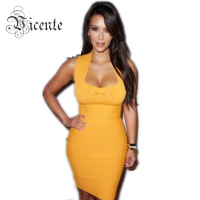 Free Shipping!!! Hot Sale! Fashion Orange Sleeveless HL BANDAGE DRESS от Aliexpress INT