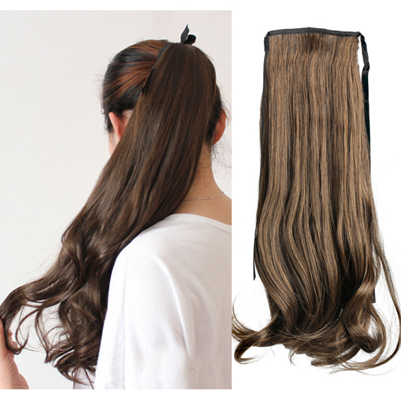 Гаджет  Faux Long Curly Lady Girl Wavy Ponytail Wigs Hair Hairpiece Extension New None Волосы и аксессуары