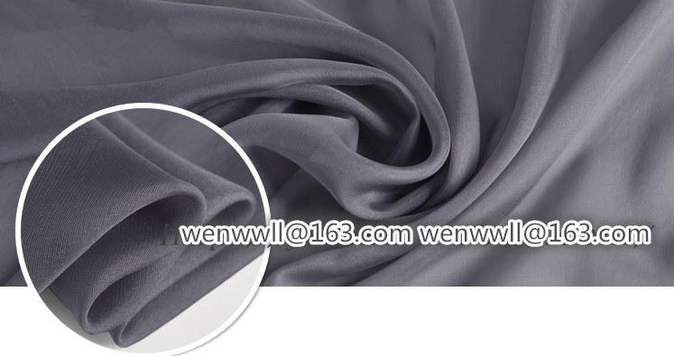 High Designer 100% pure natural mulberry silk chiffon fabric dark gray 1meter X111.6