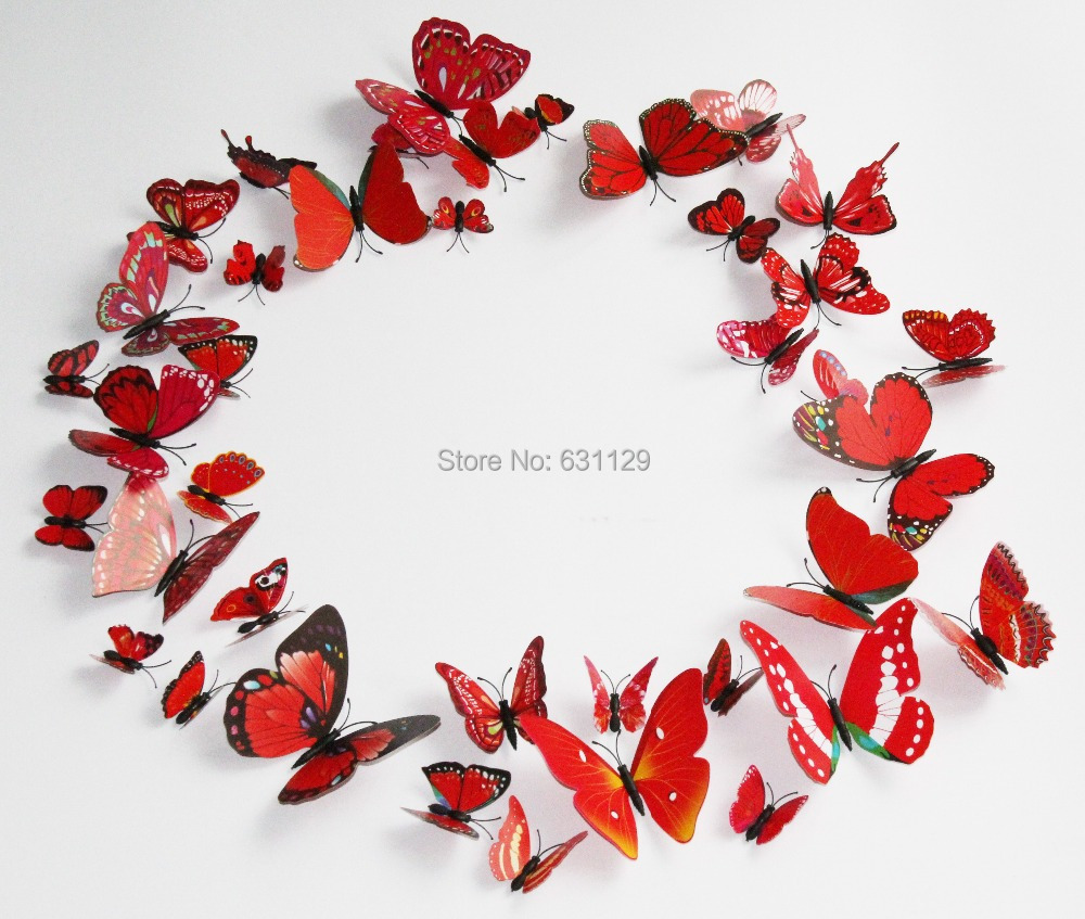 Pretty DIY Red 3D Artficial Butterfly Wall Sticker Wedding Decoration Refrigerator Magnet 1 - Happy Mall ! store
