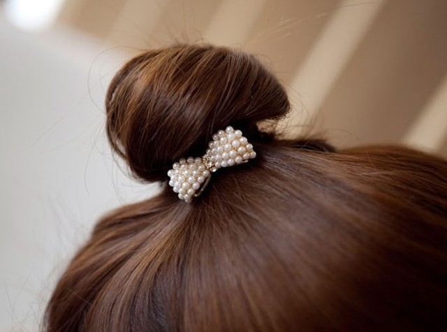 European Popular Nice Pearl Bow Hair Jewelry Headwear  Hair Band JK-0019