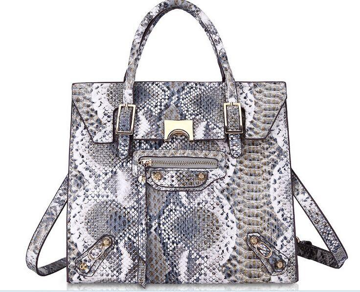 2015 high quality women leather handbags fashion snake skin ladies shoulder bags designer hand bag main femme bolsos(China (Mainland))
