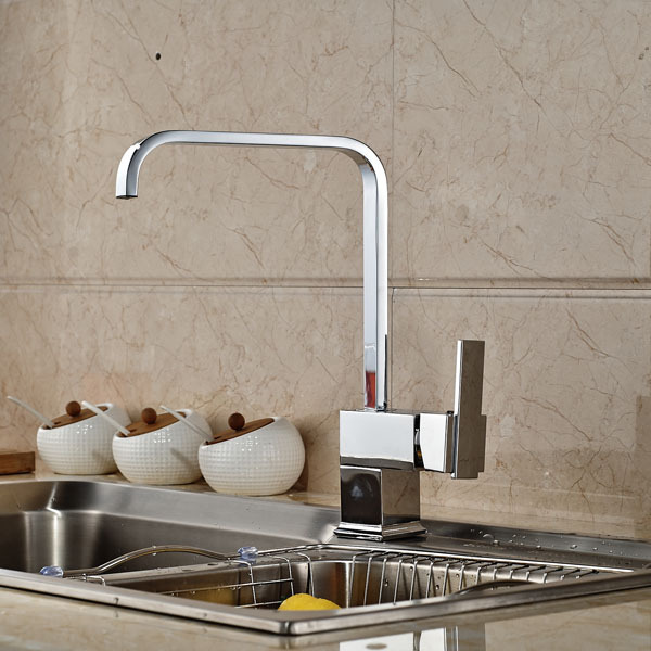 chrome finish kitchen mixer taps deck mount hot and cold mix