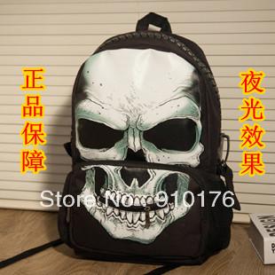 2014 New personality street skull school bag neon punk backpack waterproof double shoulder bags - HUWAIJIANFENG store