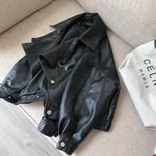 Fitaylor осенняя куртка из искусственной кожи отложной воротник женские свободные с длинным рукавом однобортные мотоциклетные кожаные куртки(China)