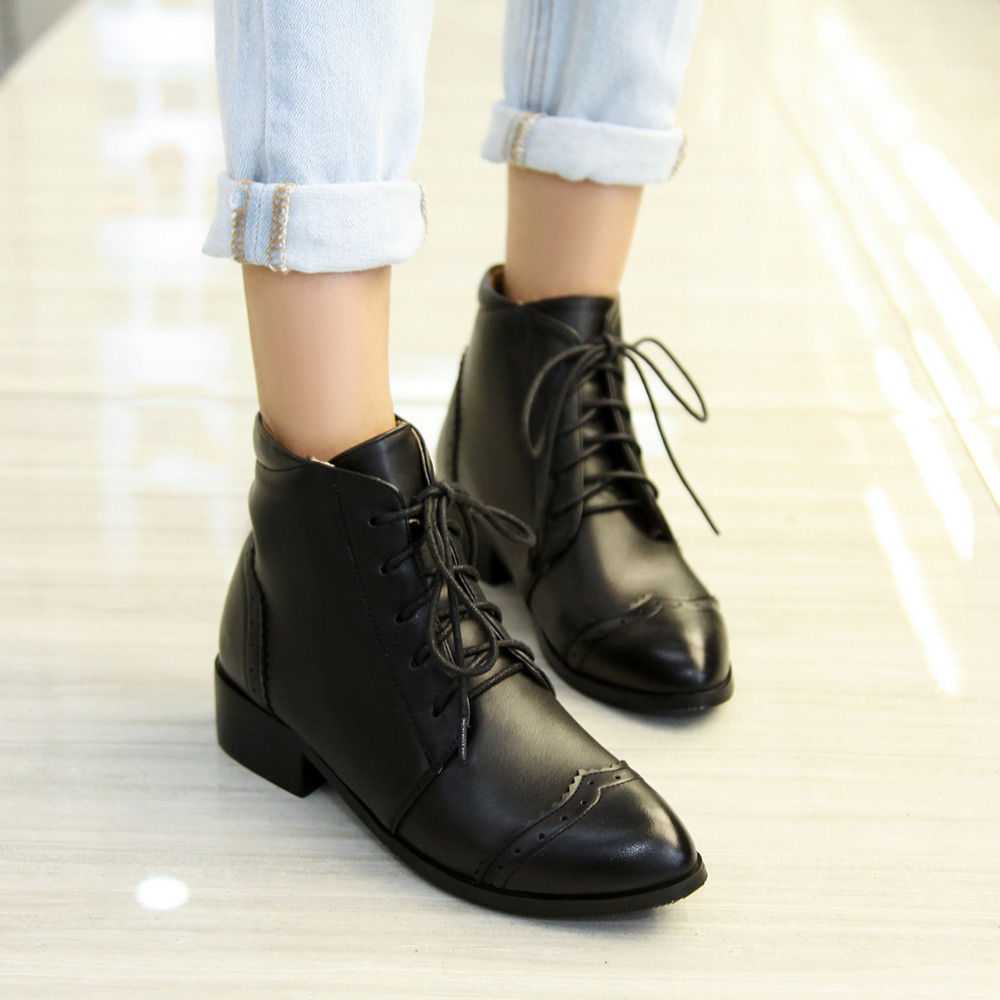 Lace Up Ankle Boots Low Heel