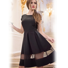 Ladies Sexy Women Dress Plus Size Women Clothing Summer Dress 2016 Women Vintage Dress A-line Fashion Women Knee-length Black(China (Mainland))