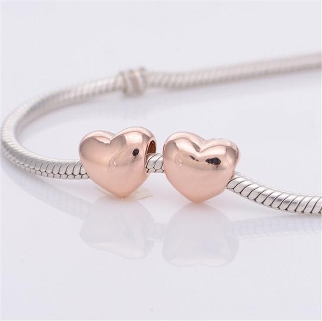 S925 чистое серебро ювелирные изделия покрытие из розового золота в форме сердца бусины для европейский своими руками подвески-талисманы браслеты лето стиль для женщины
