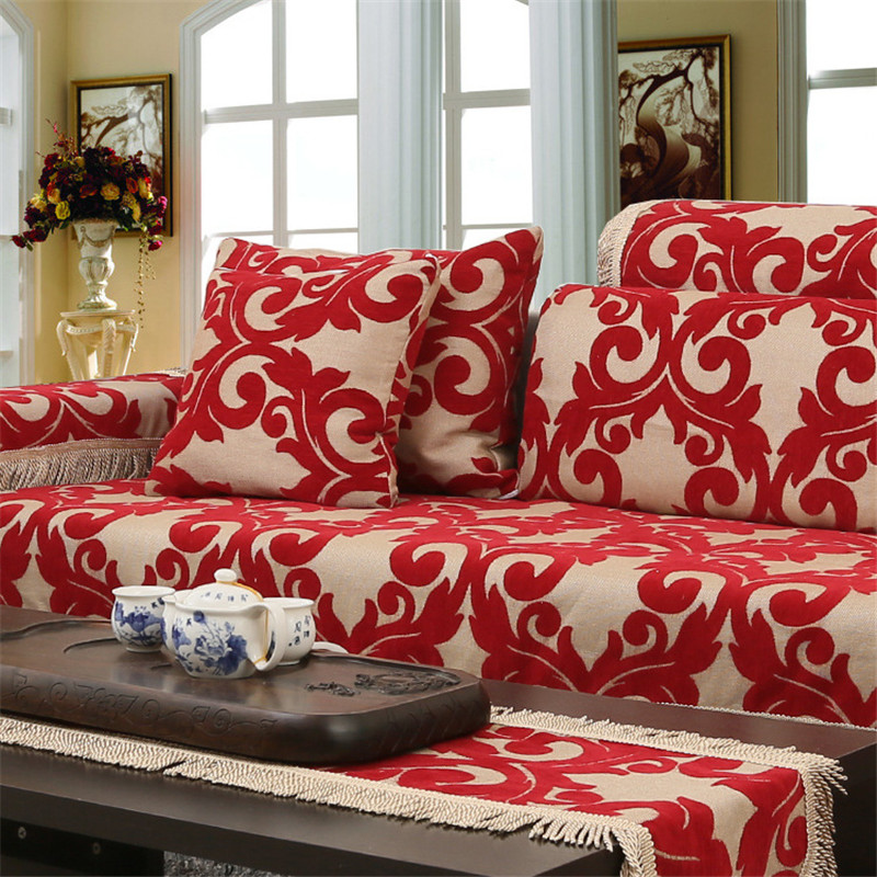 Jacquard Corner Couch Cover Flocked Fabric Cover Sofa Home Textile Leather Sofa Covers Set Red Chenille Slipcovers Mat for Couch(China (Mainland))