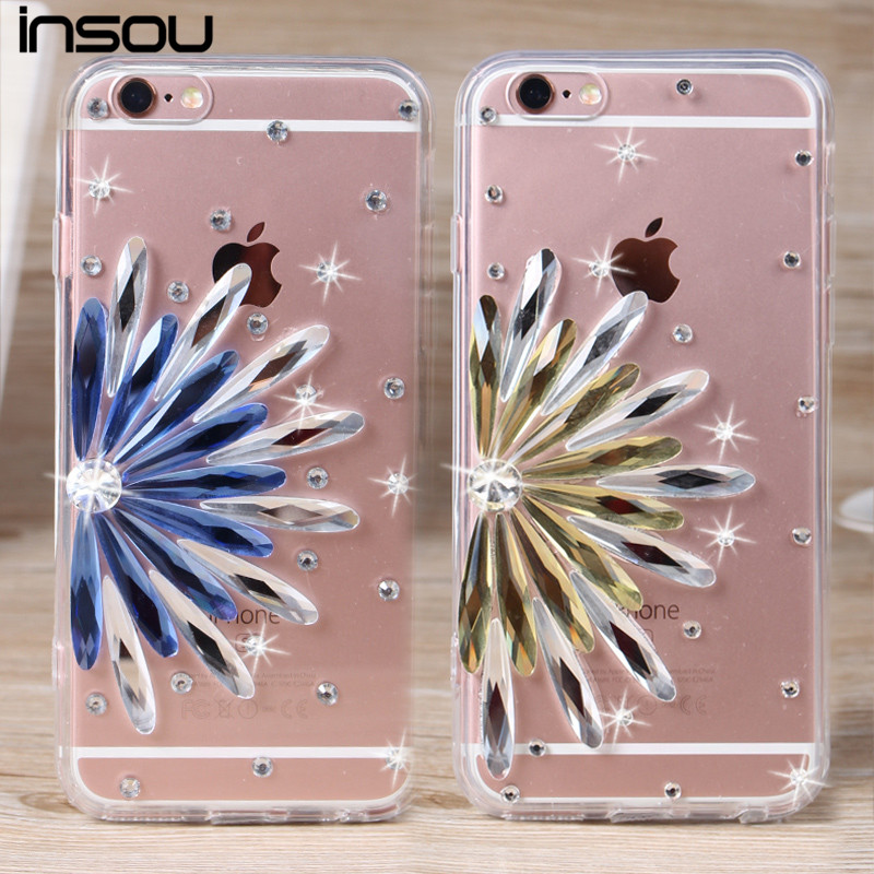 """Luxury Sunflower Diamond 3D Rhinestone Case Soft Clear TPU Case For iphone 6 6S 4.7 inch & iPhone6 Plus 5.5"""" 5se 5s 5 4 4s Cover(China (Mainland))"""