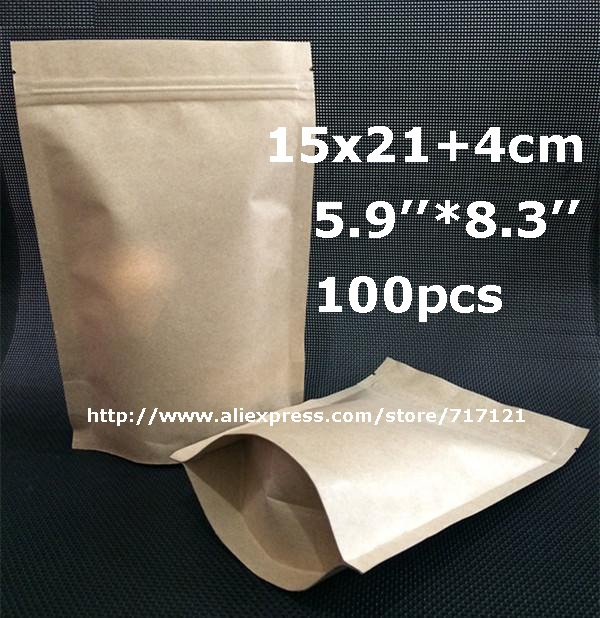 15*21+4cm 5.9''*8.3'' Stand up kraft paper bag with zipper Zip lock packaging bag Tea coffee bean bag 100pcs free shipping(China (Mainland))