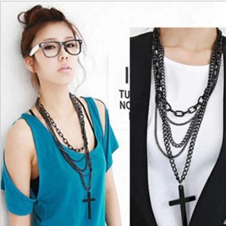 Гаджет  N034 South Korea Korean jewelry black multi-layer cross and the wind Long Necklace female retro sweater chain None Изготовление под заказ